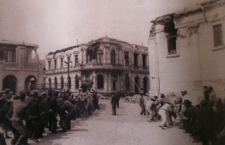 Demolición edificio Banco de Chile en O'Higgins con Caupolicán