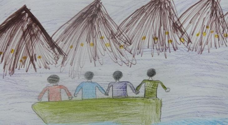 Niños dibujan sus impresiones de la travesía rumbo a la Unión Europea | Nemanja Rujevic | DW