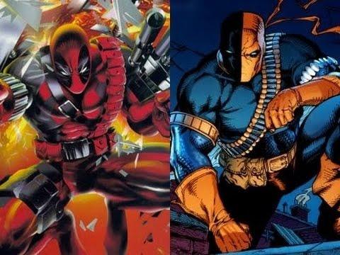 Deadpool a la izquierda y Deathstroke a la derecha