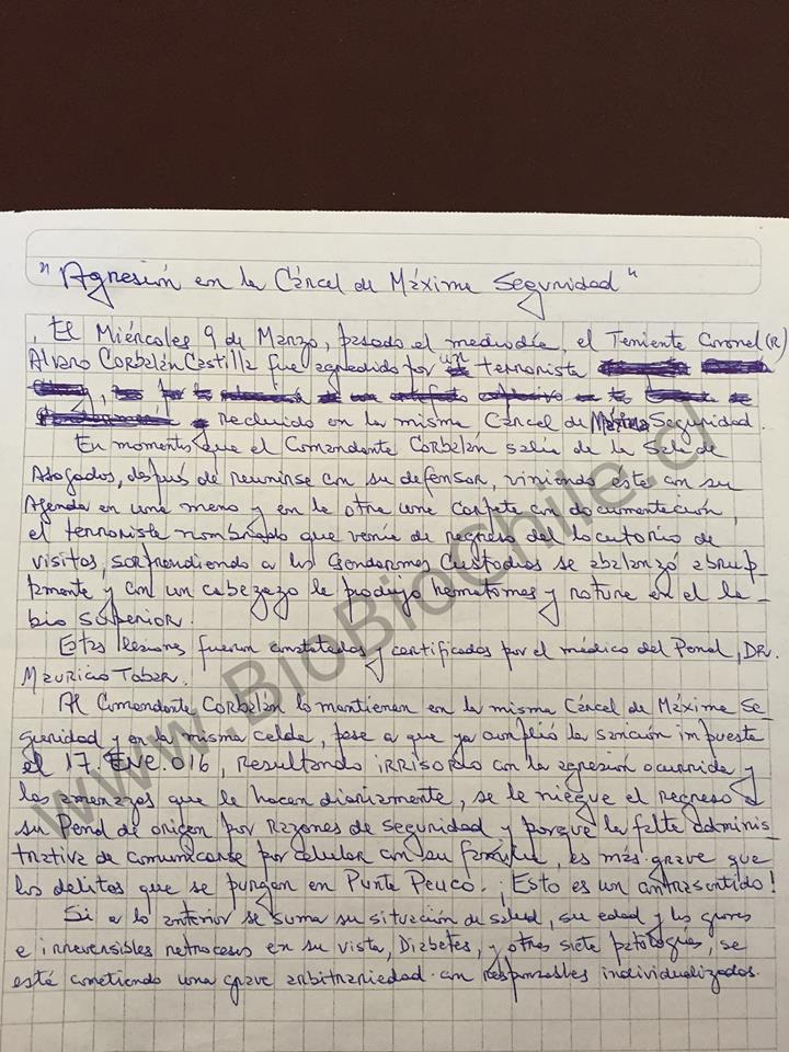 Carta escrita por Álvaro Corbalán