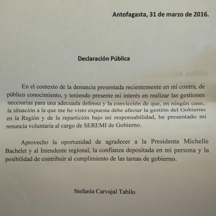 Carta de renuncia Stefanía Carvajal