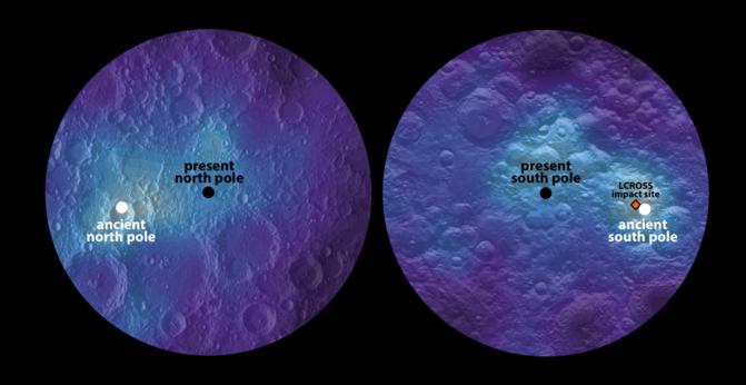 Los mapas del hidrógeno (manchas blancas) medido por la sonda Lunar Prospector permiten detectar el desplazamiento de los polos y eje de rotación de la Luna. / James Tuttle Keane