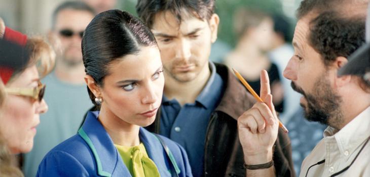 Carmen Maura, Maribel Verdú y Ricardo Larraín, rodaje El entusiasmo, Cineteca Nacional (c)