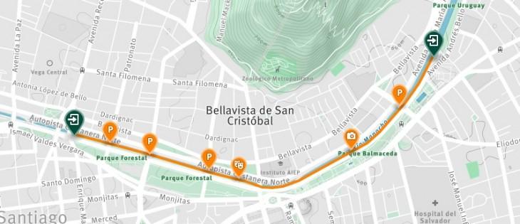 Mapa del trazado | Yovivomapocho.cl