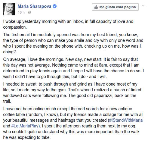 María Sharapova I Facebook Oficial