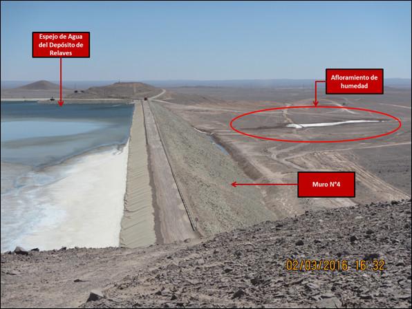 2 de marzo de 2016. Aguas abajo del muro N°4 del Depósito de Relaves, se observa afloramiento de humedad | Superintendencia del Medio Ambiente