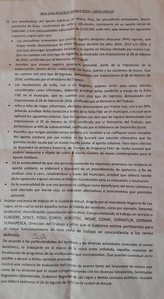 Propuesta del Gobierno | Foto: Mesa Marea Roja Ancud