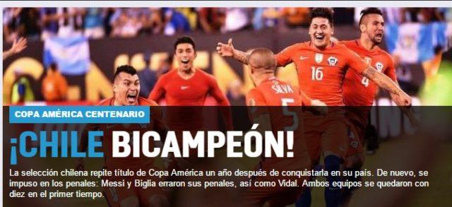 Medios internacionales, reacciones final copa centenario 4