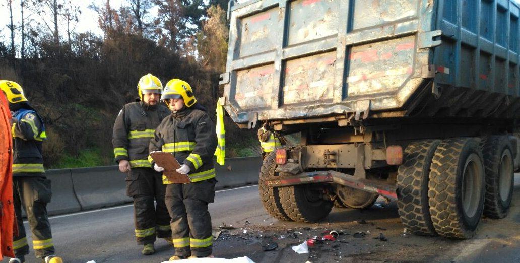 accidente moto camión penco 2