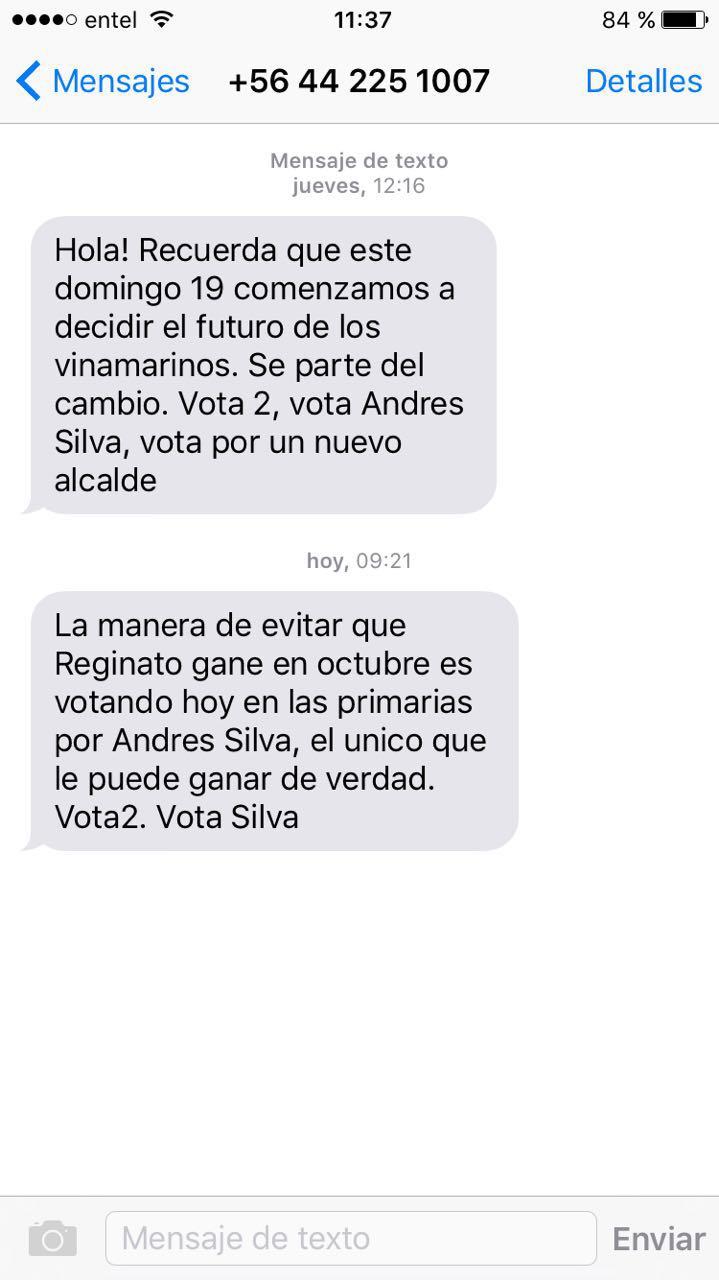 #PRIMARIAS2016: Mensaje de texto masivo llama a votar por candidato PS - Imagen 2