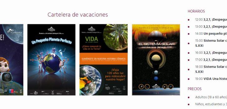 Cartelera Planetario Chile