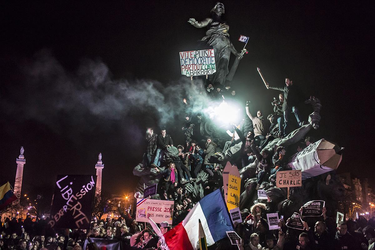 © Corentin Fohlen/ pour Stern et Paris Match/ Divergence. Paris, France. 11 janvier 2015. Manifestation a paris contre le terrorisme et en soutien aux victimes de l