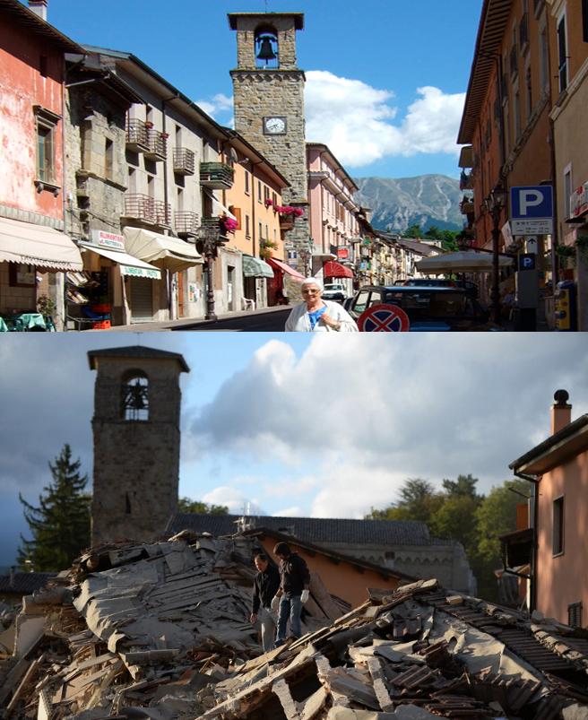 Principal calle de Amatrice: antes y después del terremoto.