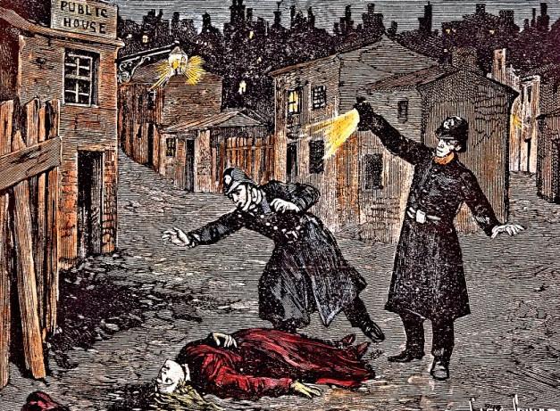 Representación de un asesinato cometido en Londres en 1888