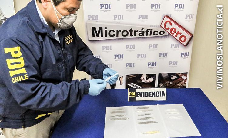 PDI muestra incautación de droga que iba a ingresar a cárcel de Cauquenes.