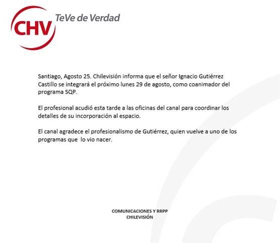 Comunicado de prensa | CHV
