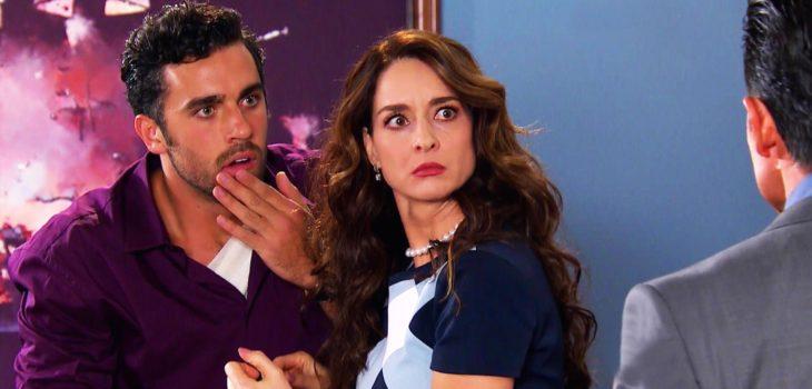 Susana González junto a su hijo en la teleserie