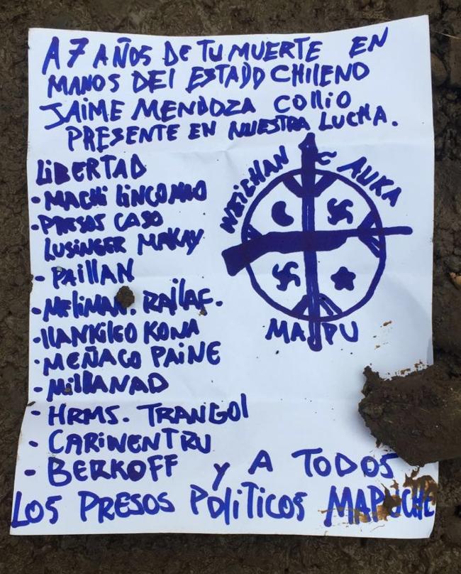Panfleto del grupo Weichan Auka Mapu encontrado tras incendio de camión.