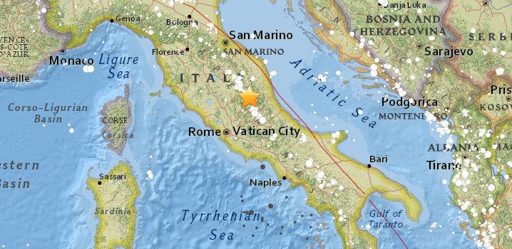 Terremoto 6,2 afectó al centro de Italia.