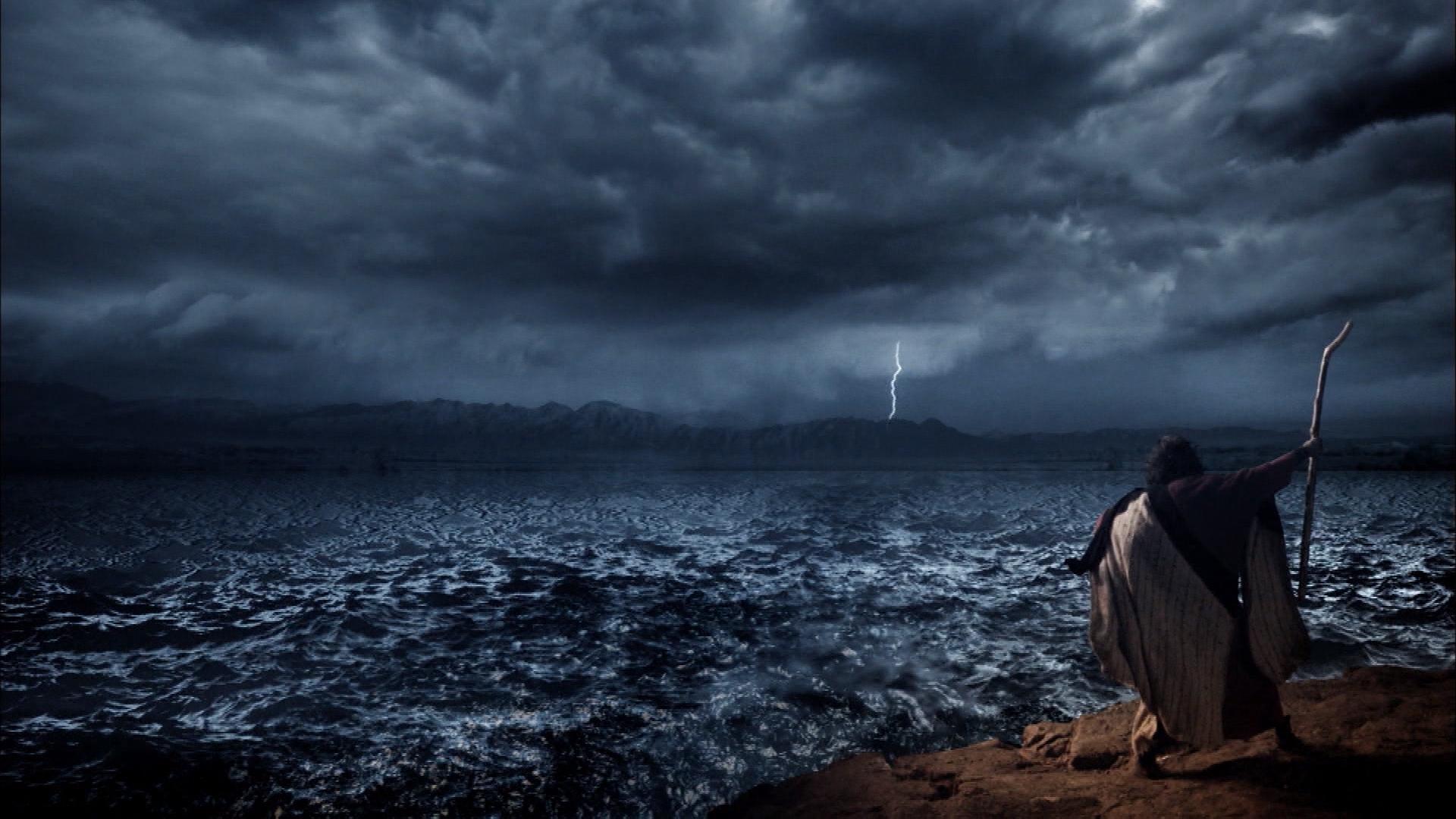 Moisés abre las aguas del Mar Rojo
