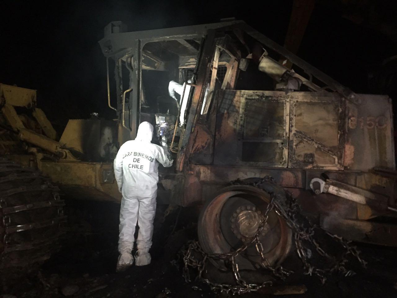 Desconocidos incendian cuatro máquinas forestales en fundo Raulín — La Araucanía