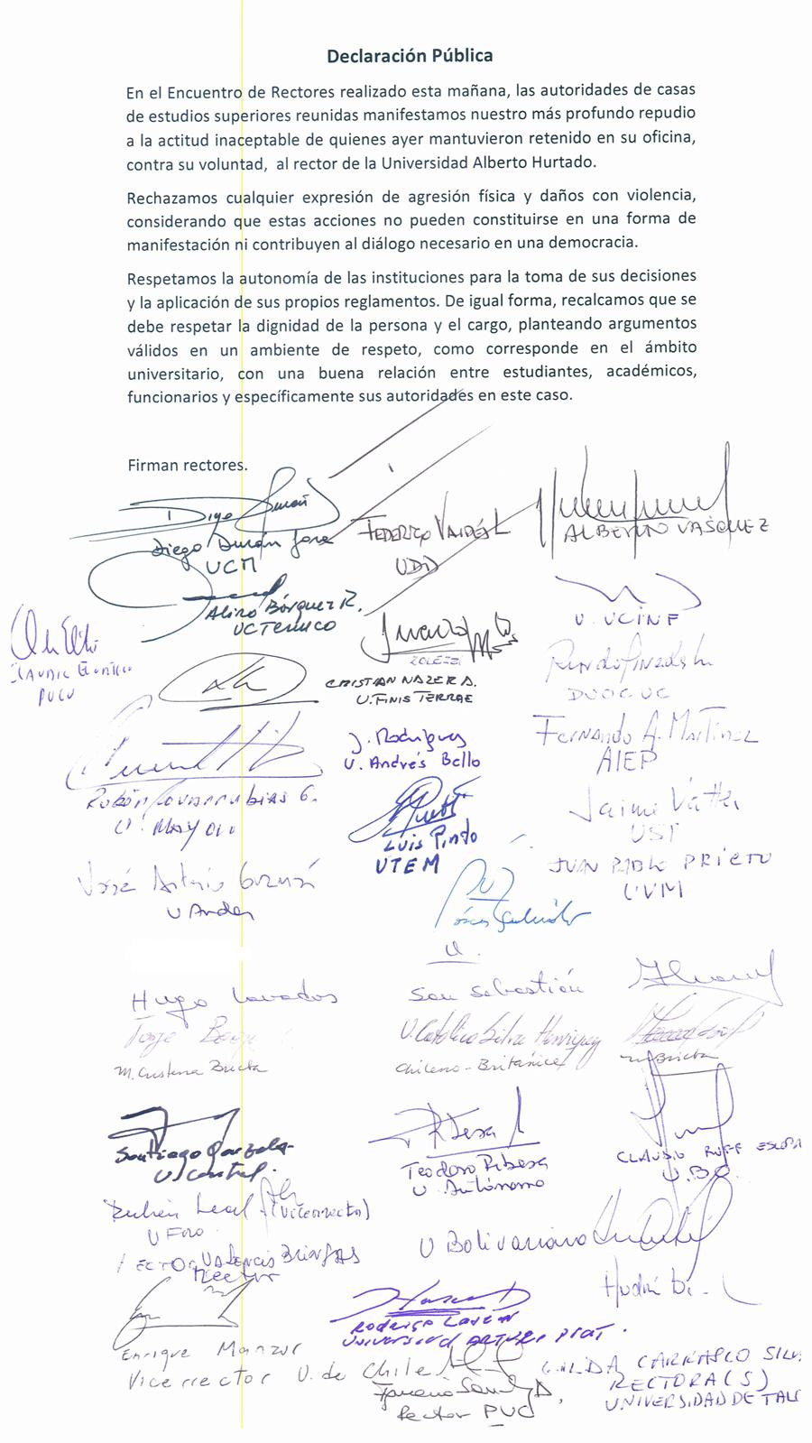 Declaración de rectores repudiando retención del rector de la UAH