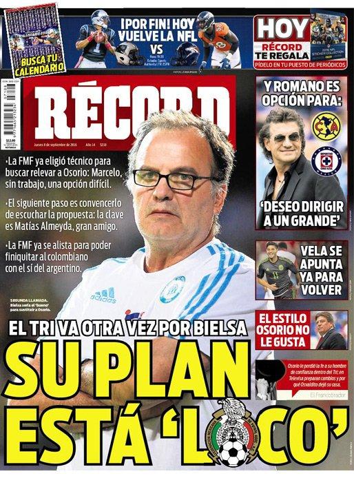 Diario Récord de México asegura que la Federación azteca sondea la opción de sumar a Marcelo Bielsa como entrenador.