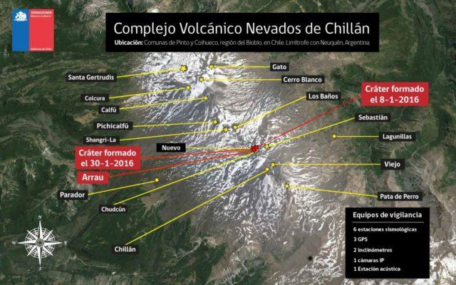 Inforgrafía que señala puntos de observación existentes en torno a los necados de Chillán