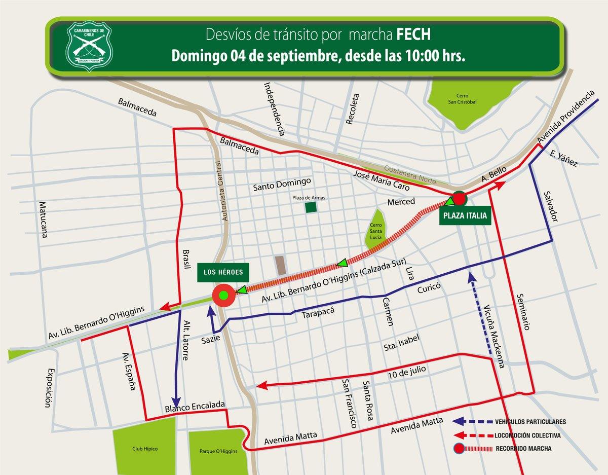 Carabineros informó de los desvíos en el tránsito del centro de Santiago ante nueva marcha convocada por la Confech