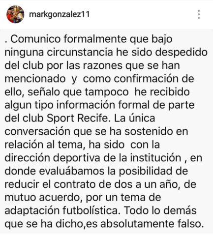 González y sus descargos en Instagram