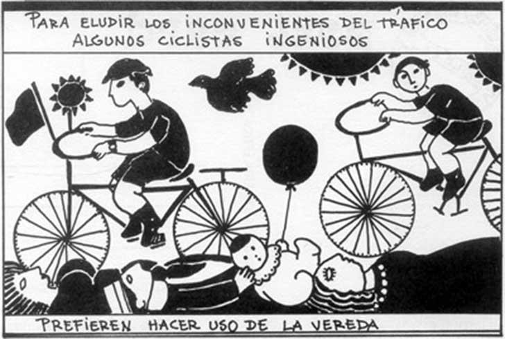 Artefacto de Nicanor Parra sobre los ciclistas