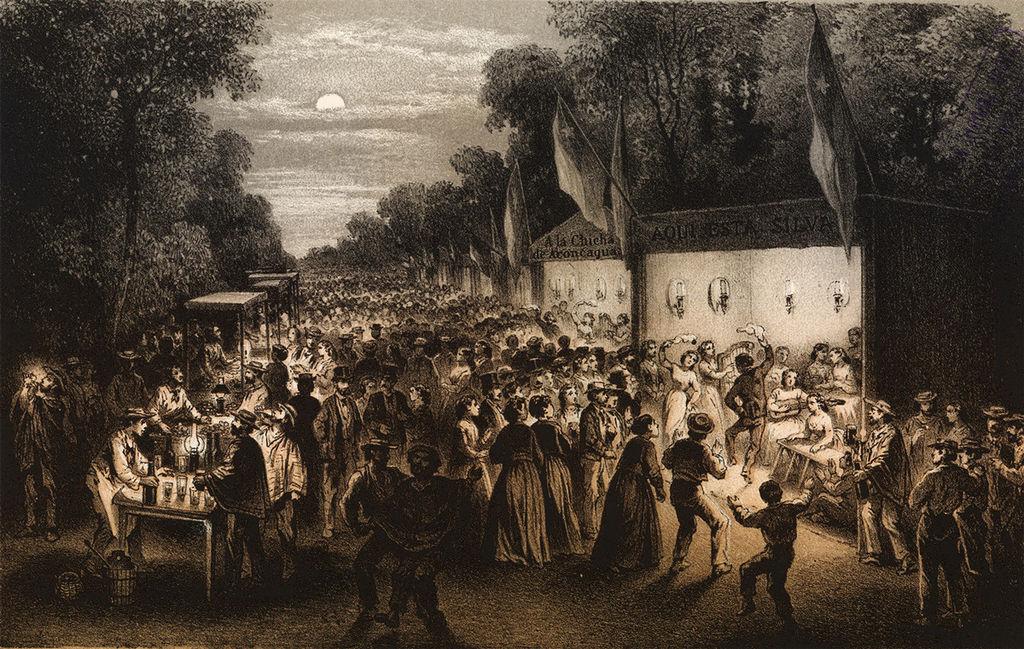 Grabado de 1872 que muestra un conjunto de chinganas en La Cañada (actual Alameda) en Nochebuena (CC) Wikimedia Commons