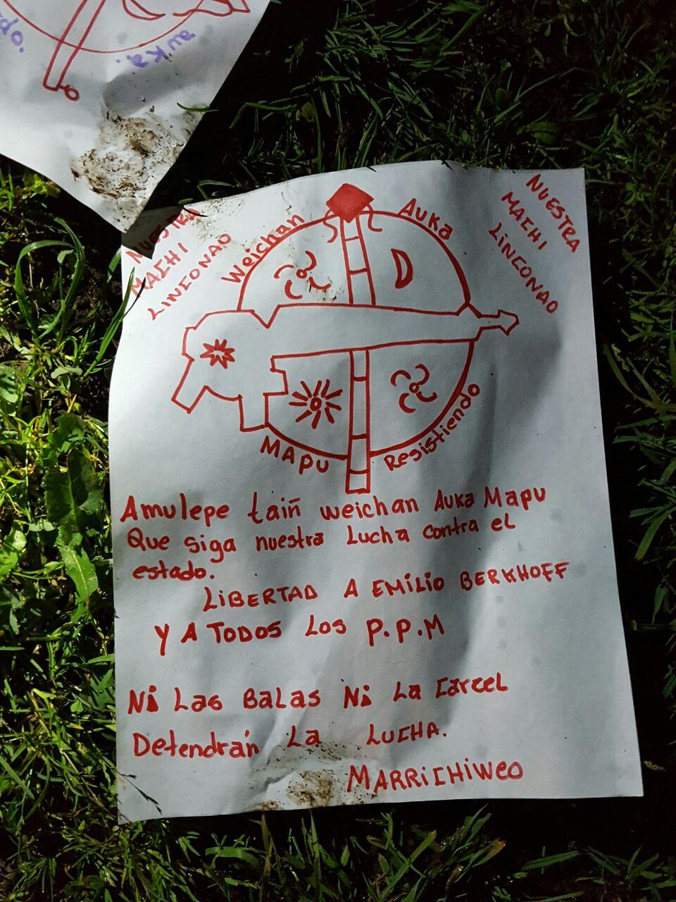 Panfleto encontrado tras intento de incendio en capilla católica de Cañete.