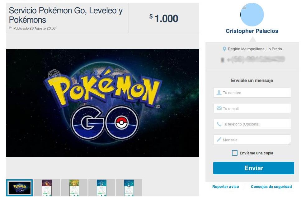 Hombre ofrece servicios Pokémon en Yapo.cl