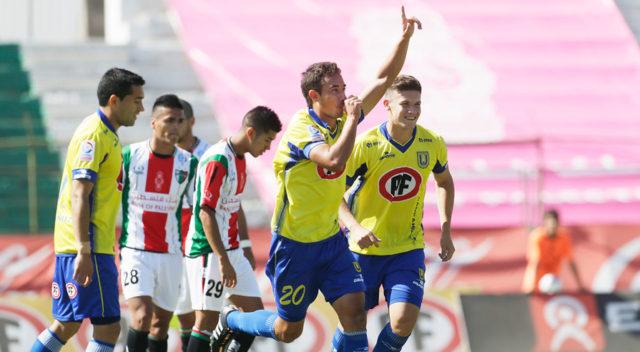 Portillo celebra su primer gol el campeonato pasado ante Palestino