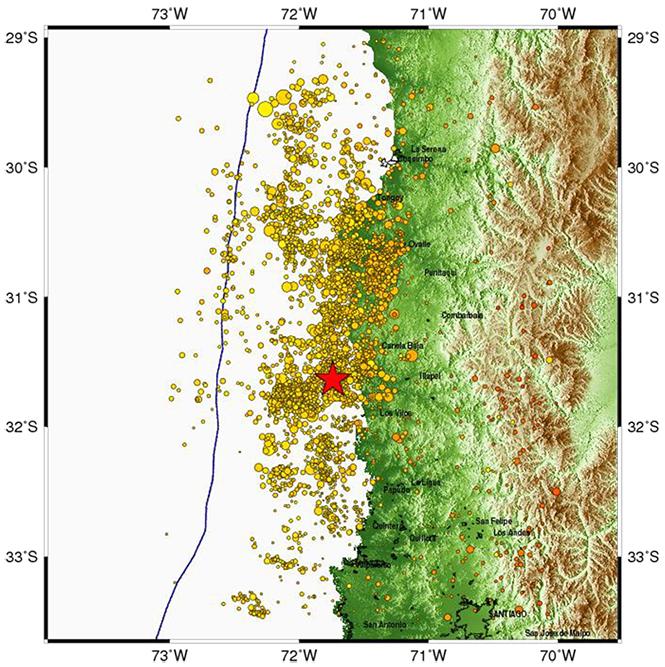 Replicas del terremoto de Coquimbo