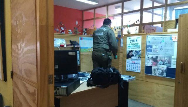 Labocar realiza peritajes en sede del Daem de Talcahuano tras robo de dos computadores