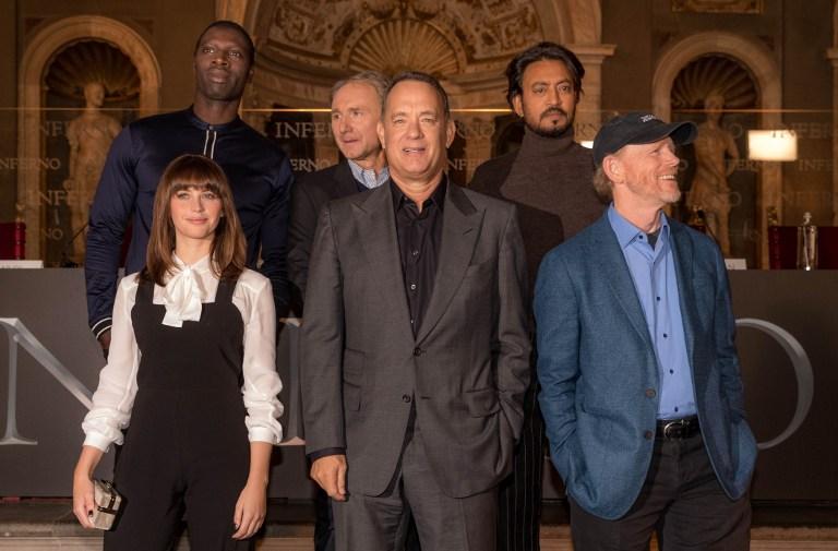 Felicity Jones, Omar Sy, Dan Brown, Tom Hanks,  Irrfan Khan y Ron Howard