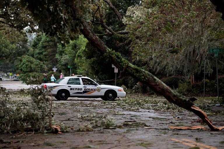 Árboles caídos en Savannah, Georgia.