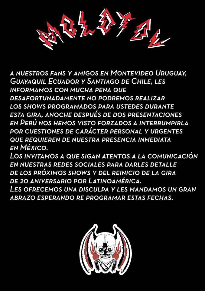 Comunicado de prensa de Molotov sobre cancelación de su show