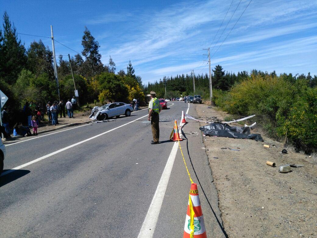 ACCIDENTE EN RUTA QUE UNE CAUQUENES Y PELLUHUE