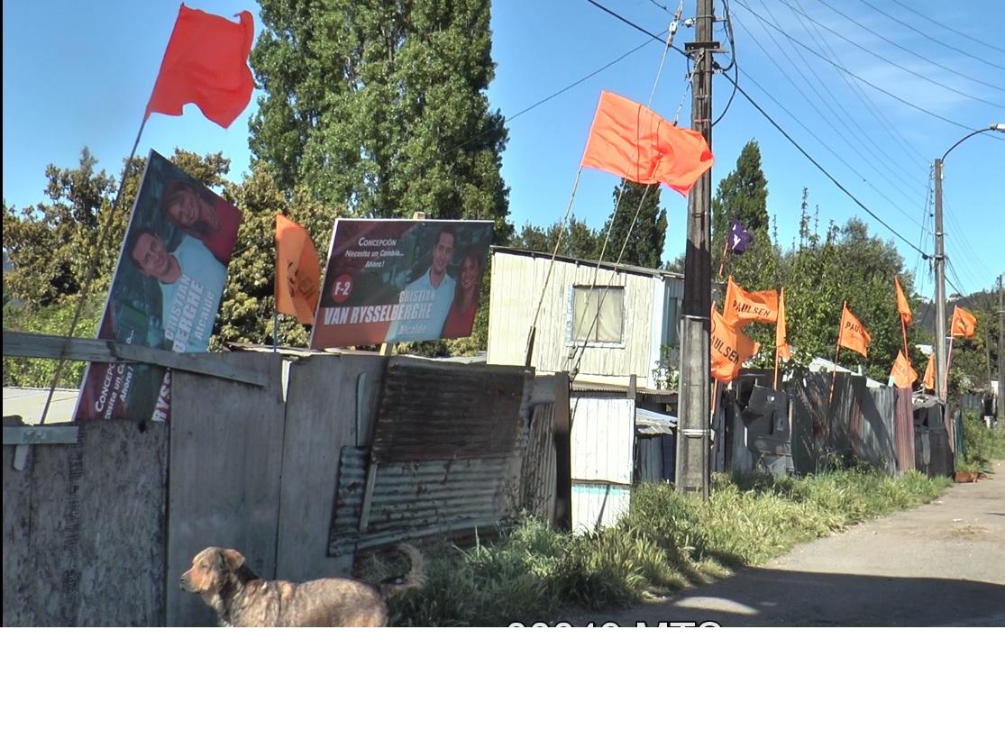 Banderas en sector Aurora de Chile de Concepción