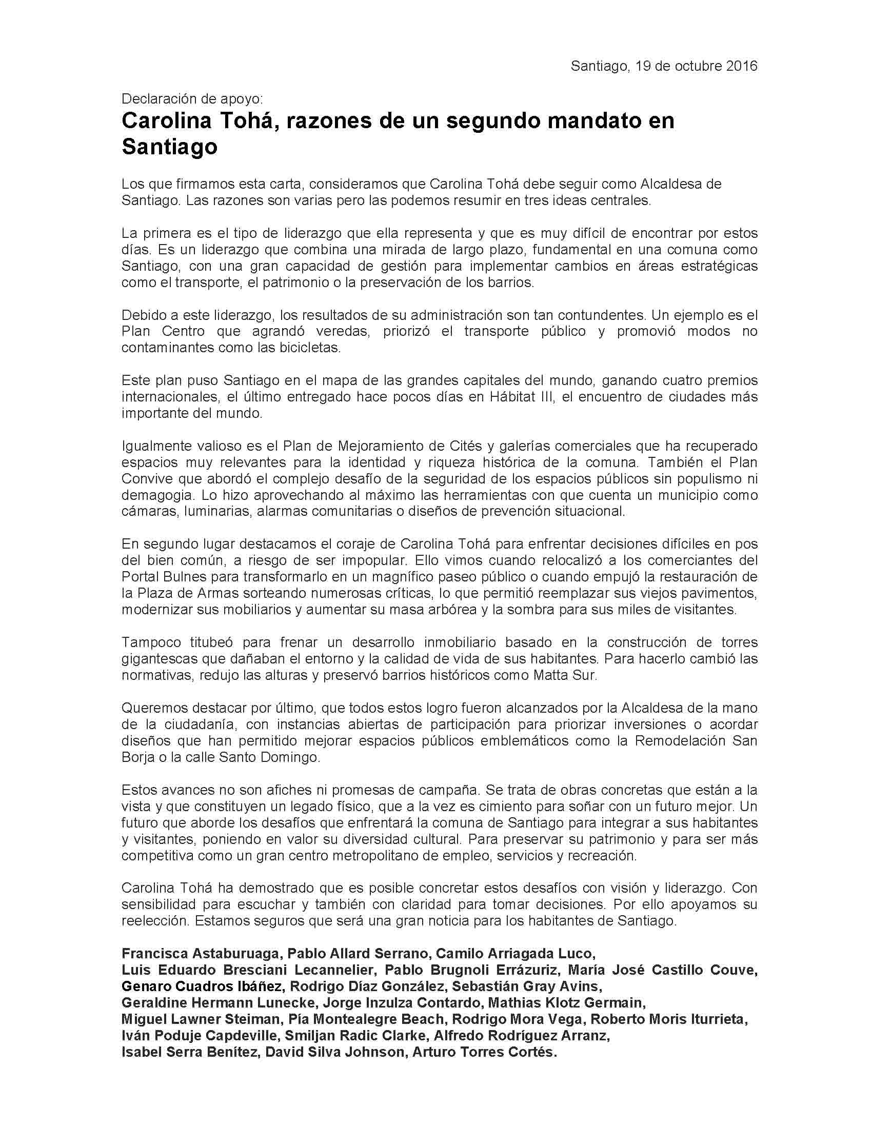 Declaración de apoyo de los profesionales a Carolina Tohá