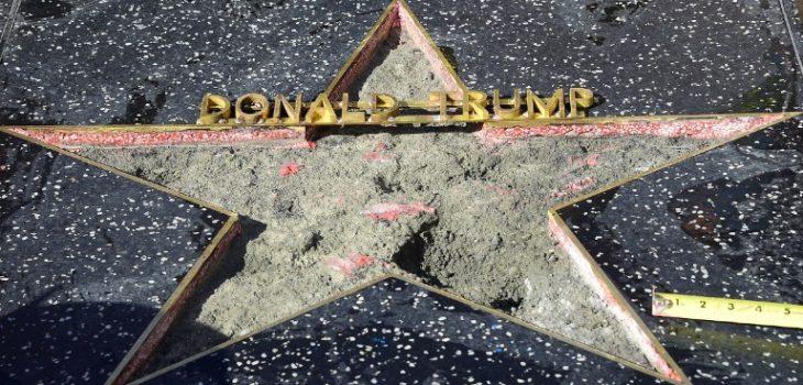 Ataque a estrella de la fama de Donald Trump