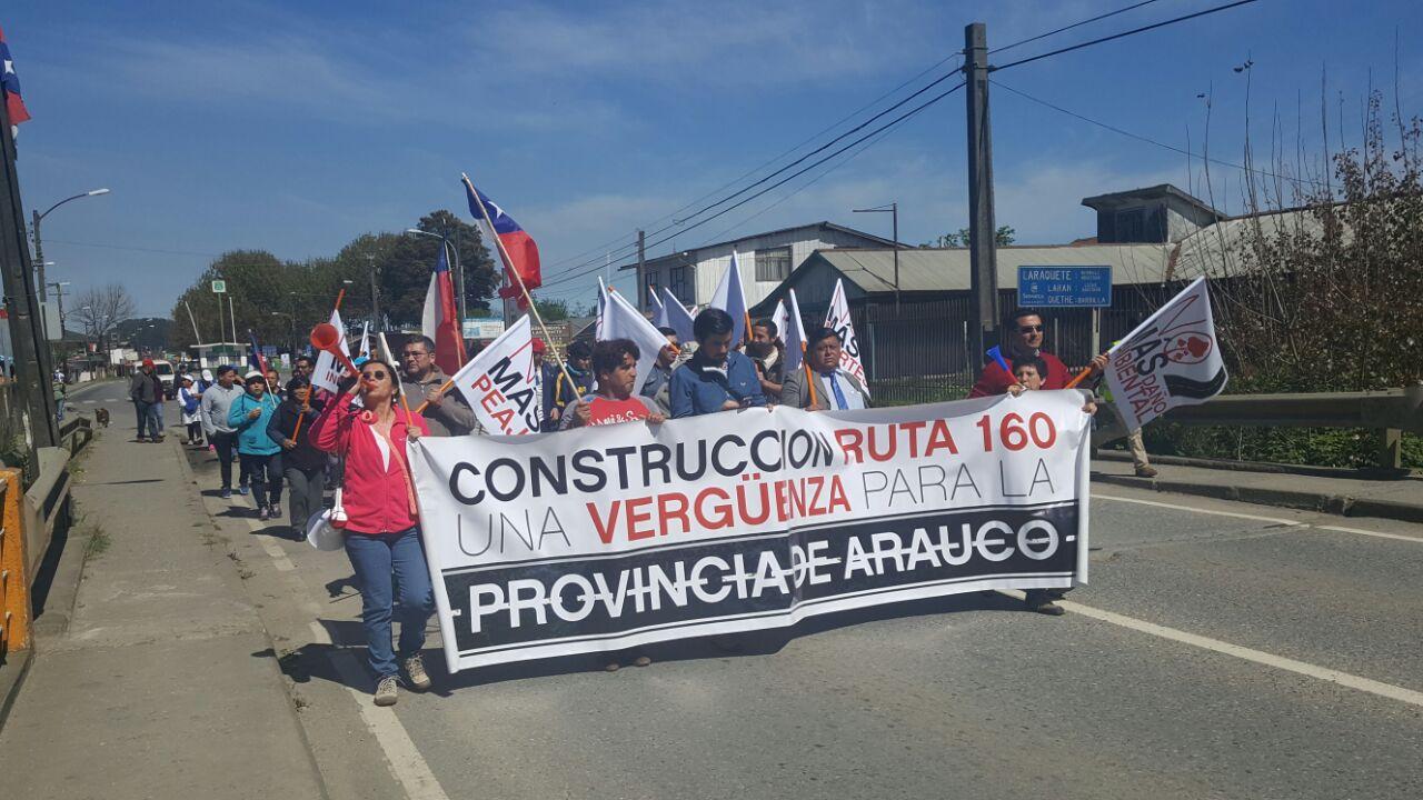Protesta de pobladores en provincia de Arauco