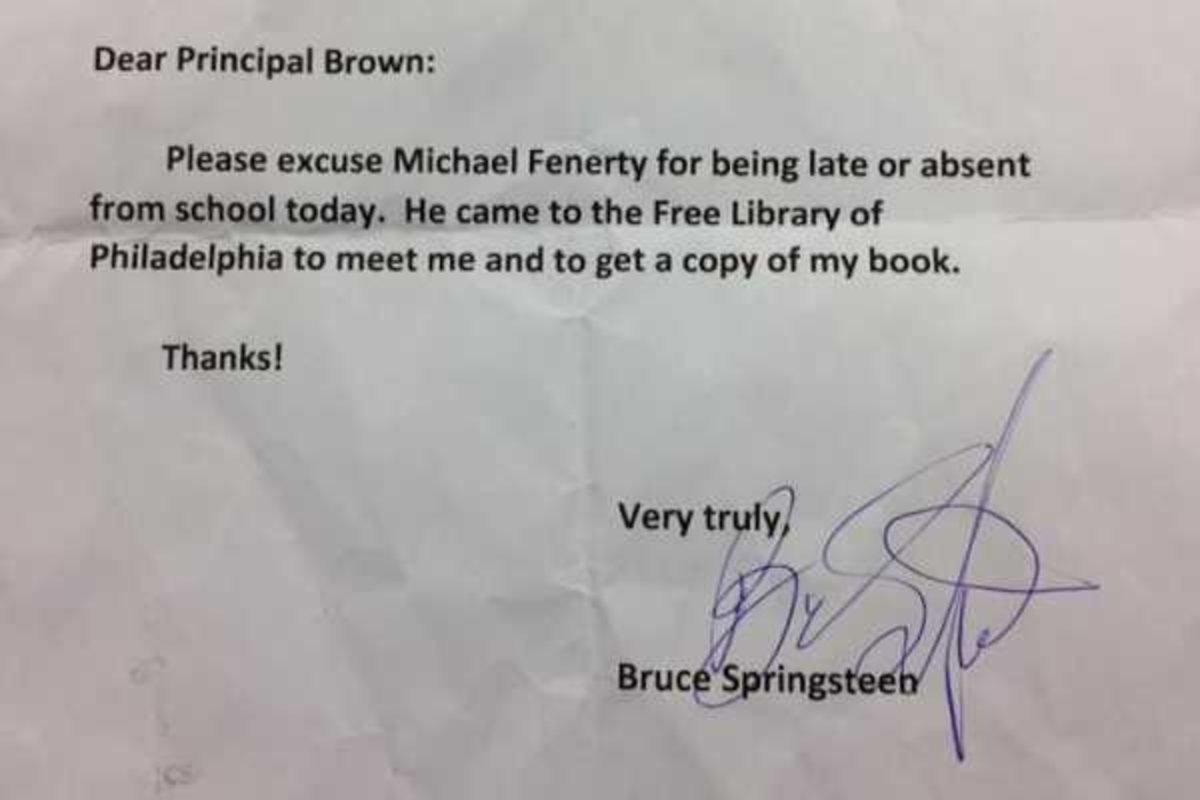 El justificativo que escribió Bruce Springsteen
