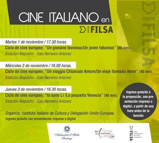 Programa ciclo cine italiano en Filsa 2016