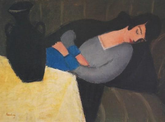 """""""Mujer dormida con jarrón negro"""" del pintor Robert Berény"""