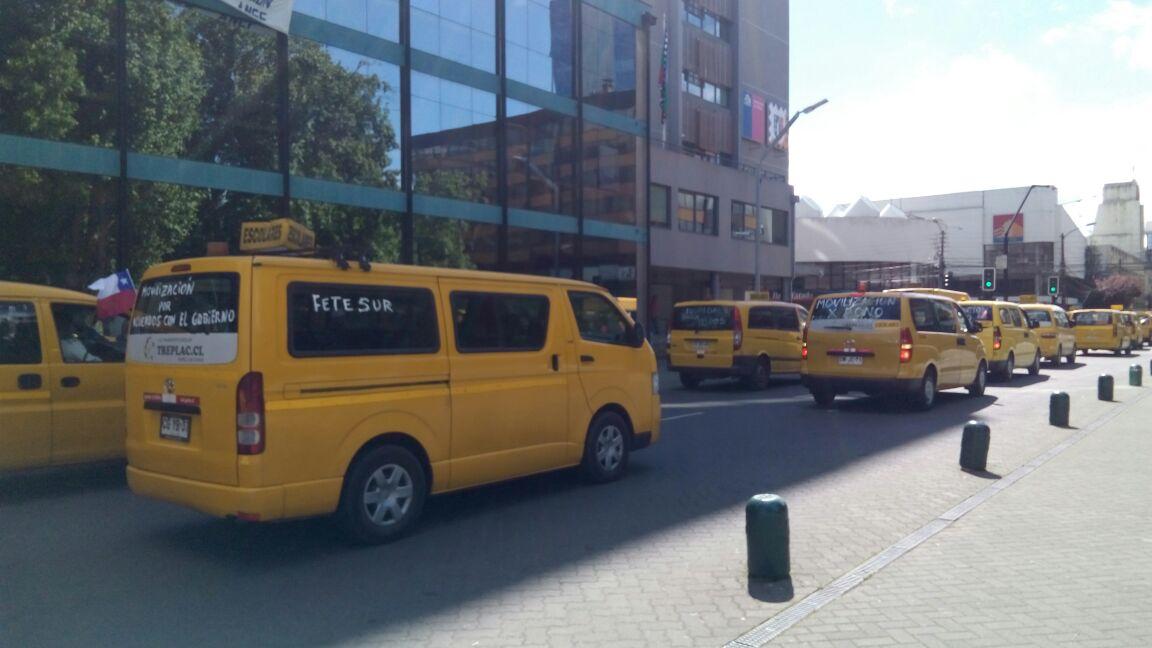 Transportistas escolares comienzan movilización en La Araucanía