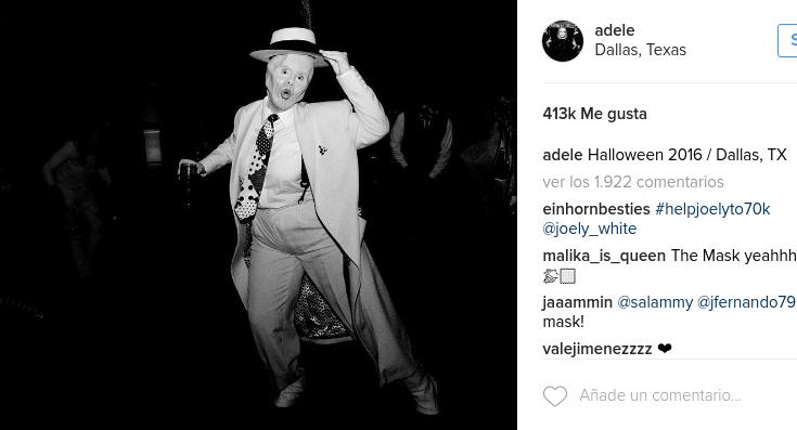 """Adele usó fenomenal disfraz de """"La Máscara"""" que la dejó completamente irreconocible"""